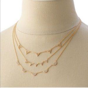 Stella & Dot Chevron Pave Rose Gold Layer Necklace